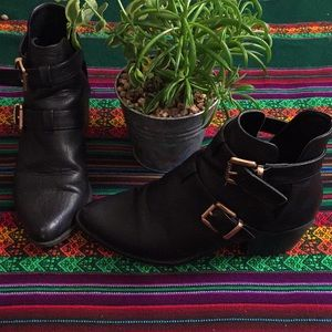 Black Booties with Gold Buckles